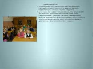 Направления работы: - формирование экологического пространства, связанного с
