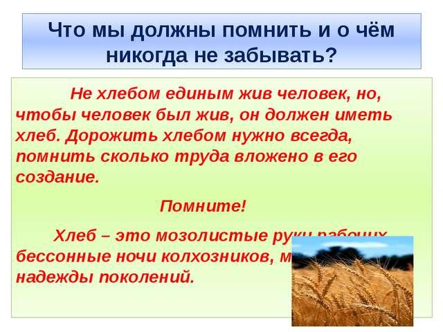 Что мы должны помнить и о чём никогда не забывать? Не хлебом единым жив челов...