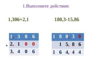 1.Выполните действия: 1,306+2,1 180,3-15,86 + ̅ 1, 3 0 6 2, 1 0 0 3, 4 0 6 1