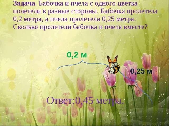 Ответ:0,45 метра. Задача. Бабочка и пчела с одного цветка полетели в разные с...
