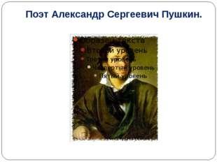 Поэт Александр Сергеевич Пушкин.