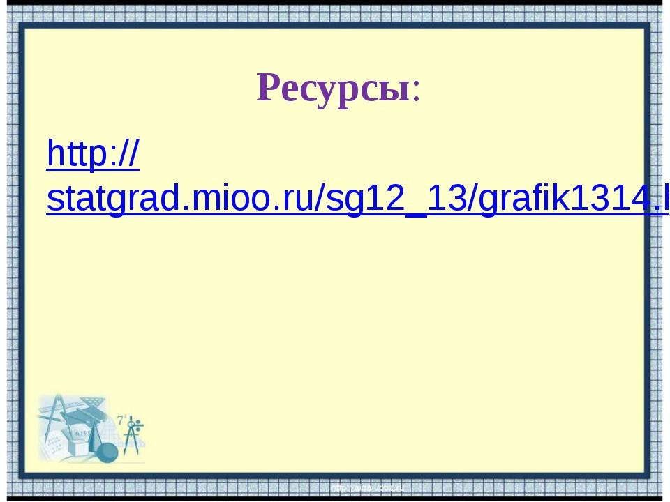 http://statgrad.mioo.ru/sg12_13/grafik1314.htm Ресурсы: