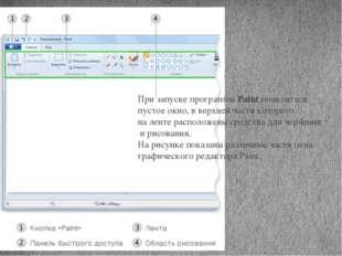 При запуске программы Paint появляется пустое окно, в верхней части которого