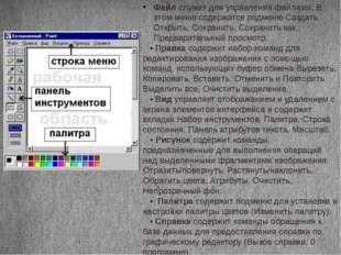 Файлслужит для управления файлами, В этом меню содержатся подменю Создать, О