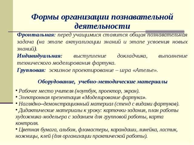 Формы организации познавательной деятельности Фронтальная: перед учащимися с...