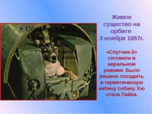 Живое существо на орбите  3 ноября 1957г.  «Спутник-2» готовили в авральном р