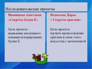 Исследовательские проекты Иваницкая Анастасия «Секреты буквы Е» Цель проекта