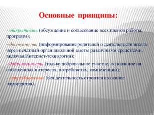 Основные принципы: - открытость (обсуждение и согласование всех планов работы