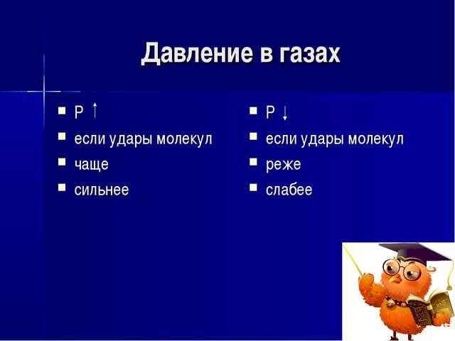 Давление в газах Р если удары молекул чаще сильнее Р если удары молекул реже...