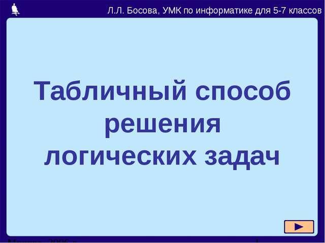 Табличный способ решения логических задач Л.Л. Босова, УМК по информатике для...