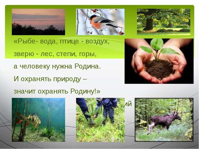 «Рыбе- вода, птице - воздух, зверю - лес, степи, горы, а человеку нужна Родин...