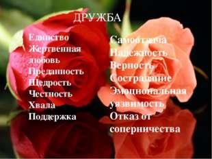 Единство Жертвенная любовь Преданность Щедрость Честность Хвала Поддержка Сам