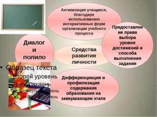 Средства развития личности Активизация учащихся, благодаря использованию инт