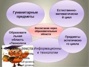 Воспитание через образовательные области Гуманитарные предметы Естественно-м