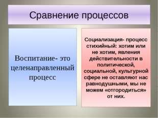 Сравнение процессов Воспитание- это целенаправленный процесс Социализация- пр