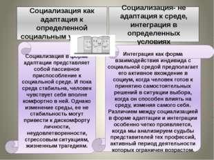Социализация как адаптация к определенной социальным условиям Социализация-