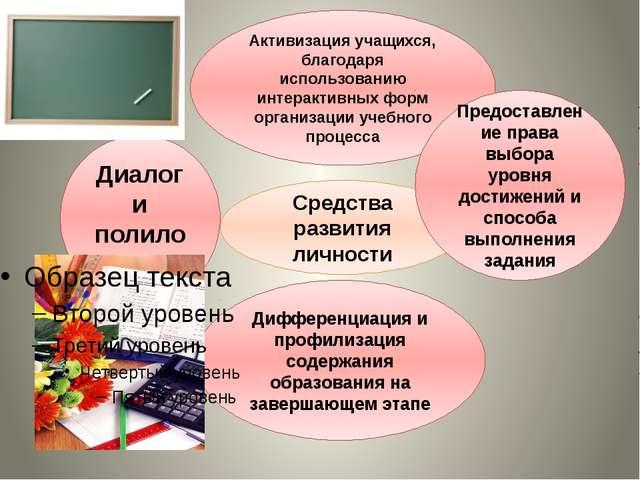 Средства развития личности Активизация учащихся, благодаря использованию инт...