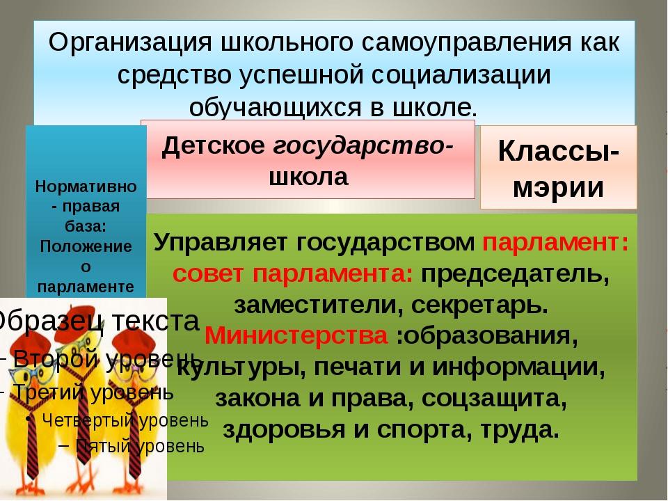 Организация школьного самоуправления как средство успешной социализации обуча...