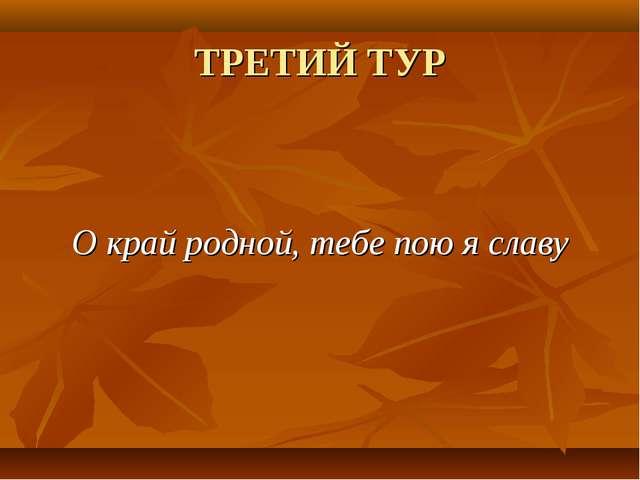 ТРЕТИЙ ТУР О край родной, тебе пою я славу