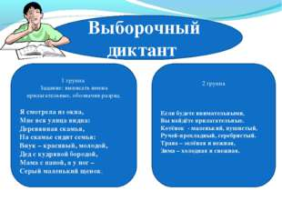 Выборочный диктант 1 группа Задание: выписать имена прилагательные, обозначив