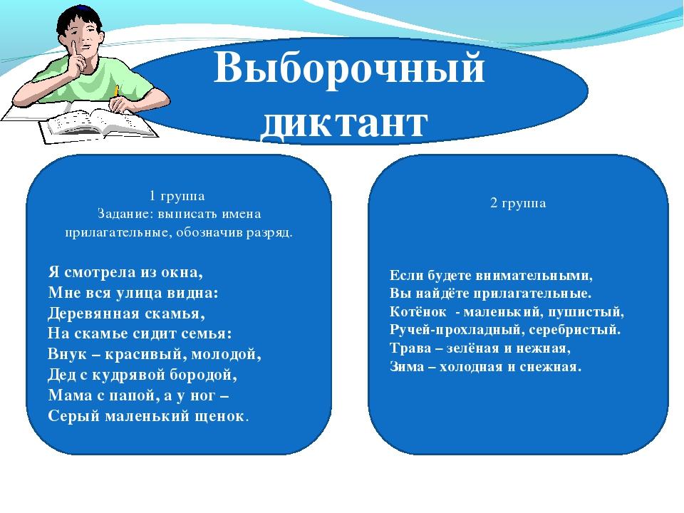 Выборочный диктант 1 группа Задание: выписать имена прилагательные, обозначив...