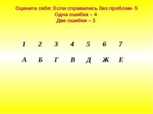 Оцените себя: Если справились без проблем- 5 Одна ошибка – 4 Две ошибки – 3 1