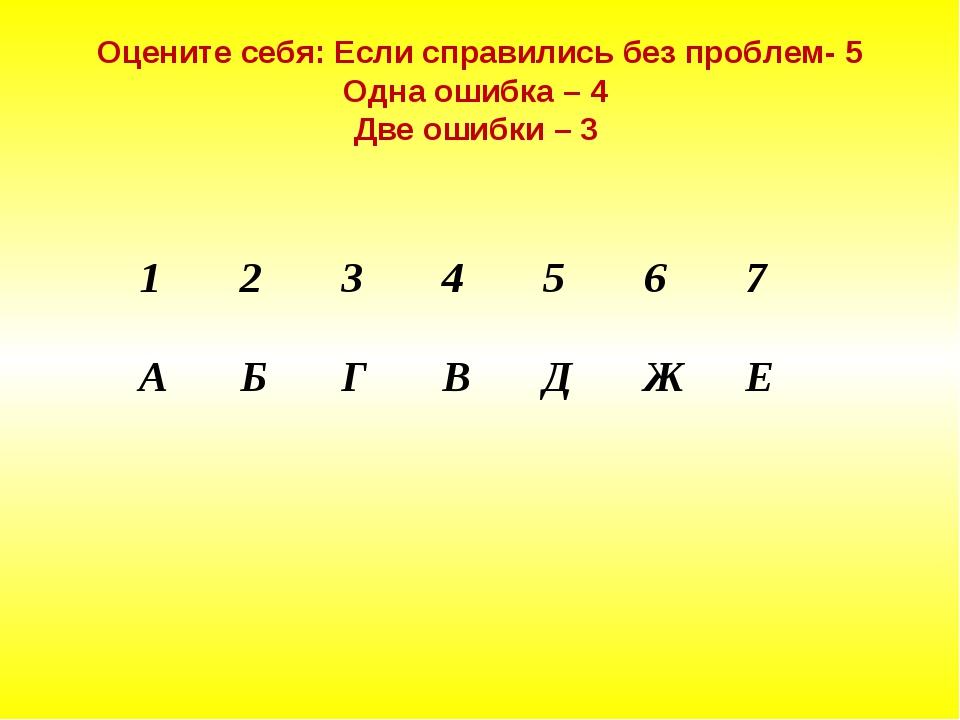 Оцените себя: Если справились без проблем- 5 Одна ошибка – 4 Две ошибки – 3 1...