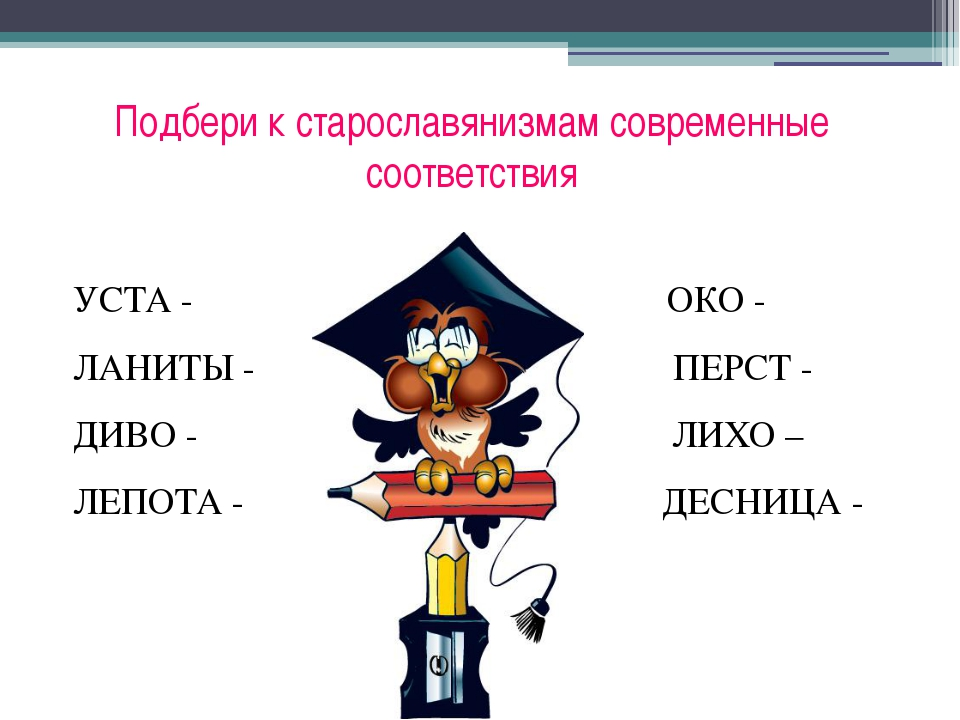 Подбери к старославянизмам современные соответствия УСТА -...