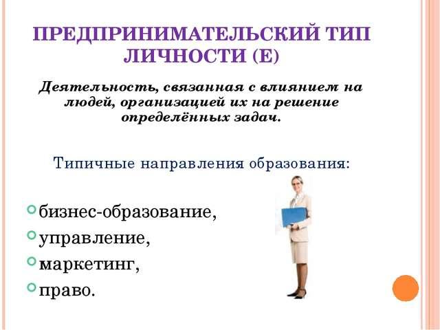 ПРЕДПРИНИМАТЕЛЬСКИЙ ТИП ЛИЧНОСТИ (E) Деятельность, связанная с влиянием на лю...