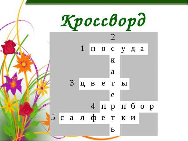 Кроссворд 2 1 п о с у д а к а 3 ц в е т ы е 4 п р и б о р 5 с а л ф е т к и ь