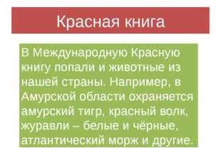 Красная книга В Международную Красную книгу попали и животные из нашей страны