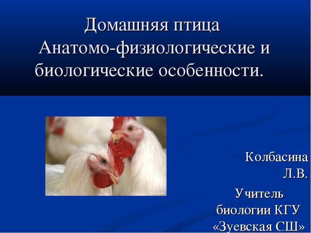 Домашняя птица Анатомо-физиологические и биологические особенности. Колбасина...