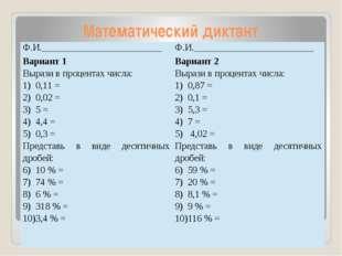 Математический диктант Ф.И._________________________ Ф.И.____________________