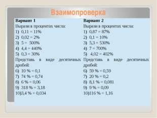 Взаимопроверка Вариант 1 Вырази в процентах числа: 0,11 = 11% 0,02 = 2% 5 = 5
