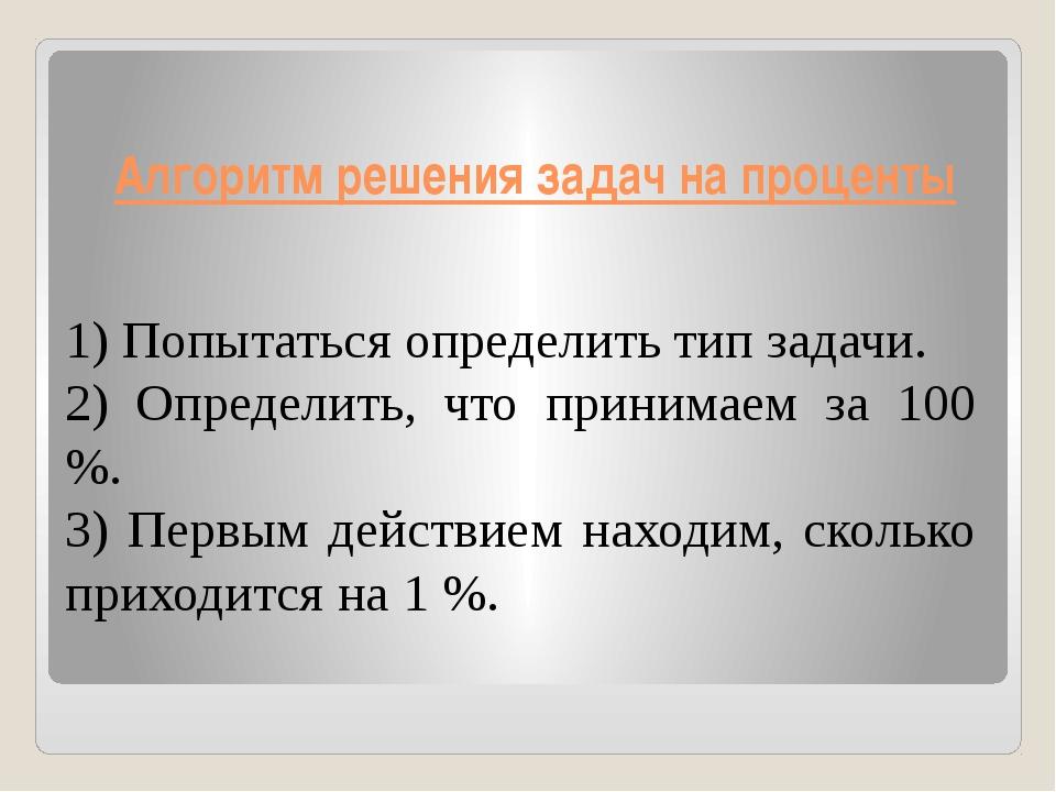 Алгоритм решения задач на проценты 1) Попытаться определить тип задачи. 2) Оп...