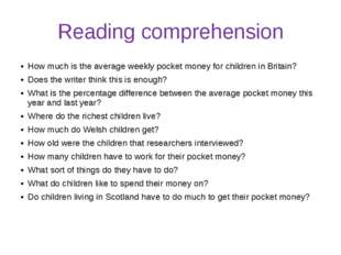 Reading comprehension How much is the average weekly pocket money for childre