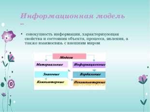 Информационная модель – совокупность информации, характеризующая свойства и