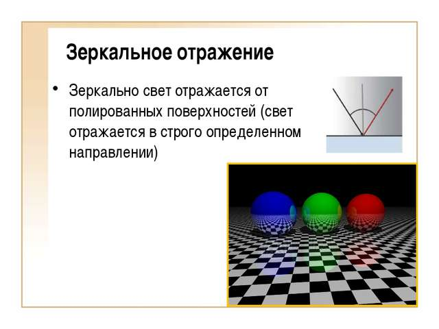 Зеркальное отражение Зеркально свет отражается от полированных поверхностей (...