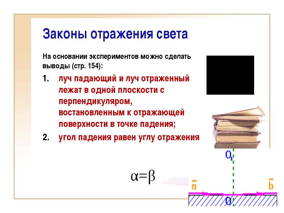 Законы отражения света На основании экспериментов можно сделать выводы (стр....