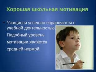 Хорошая школьная мотивация Учащиеся успешно справляются с учебной деятельност