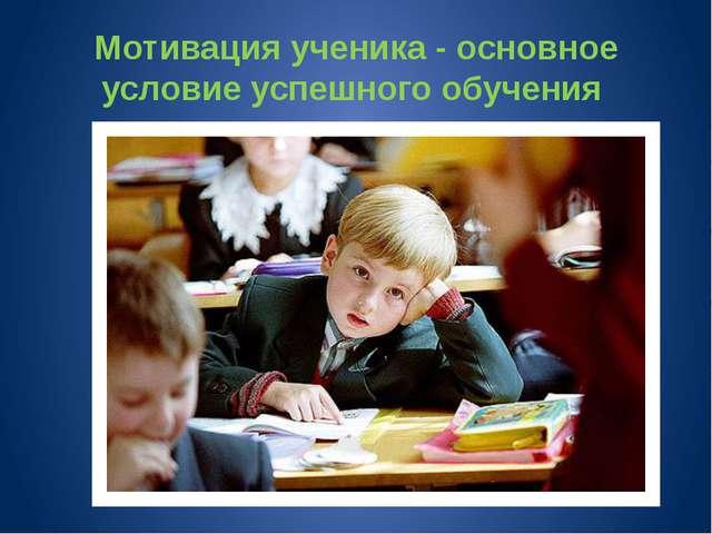 Мотивация ученика - основное условие успешного обучения