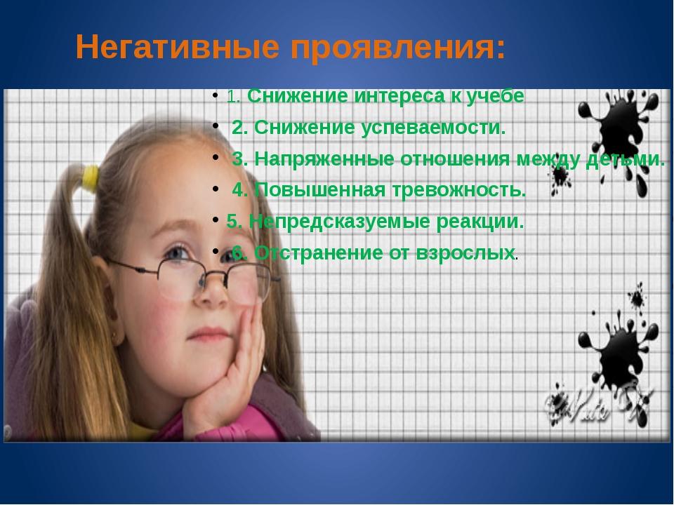 Негативные проявления: 1. Снижение интереса к учебе 2. Снижение успеваемости...