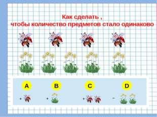 A B C D Как сделать , чтобы количество предметов стало одинаково + + + _ 5 6
