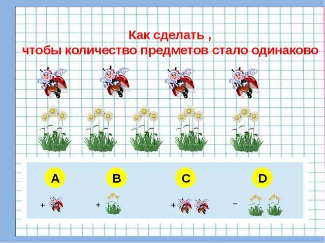 A B C D Как сделать , чтобы количество предметов стало одинаково + + + _ 5 6...