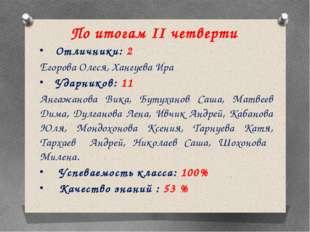 По итогам II четверти Отличники: 2 Егорова Олеся, Хангуева Ира Ударников: 11