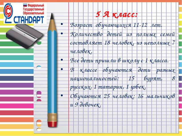 5 А класс: Возраст обучающихся 11-12 лет. Количество детей из полных семей со...