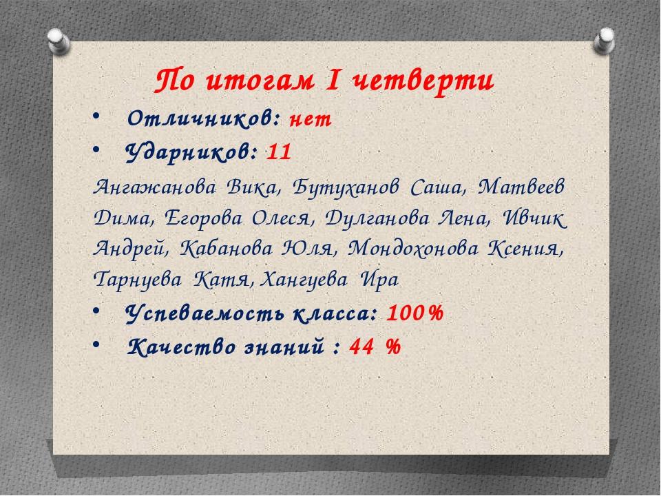 По итогам I четверти Отличников: нет Ударников: 11 Ангажанова Вика, Бутуханов...
