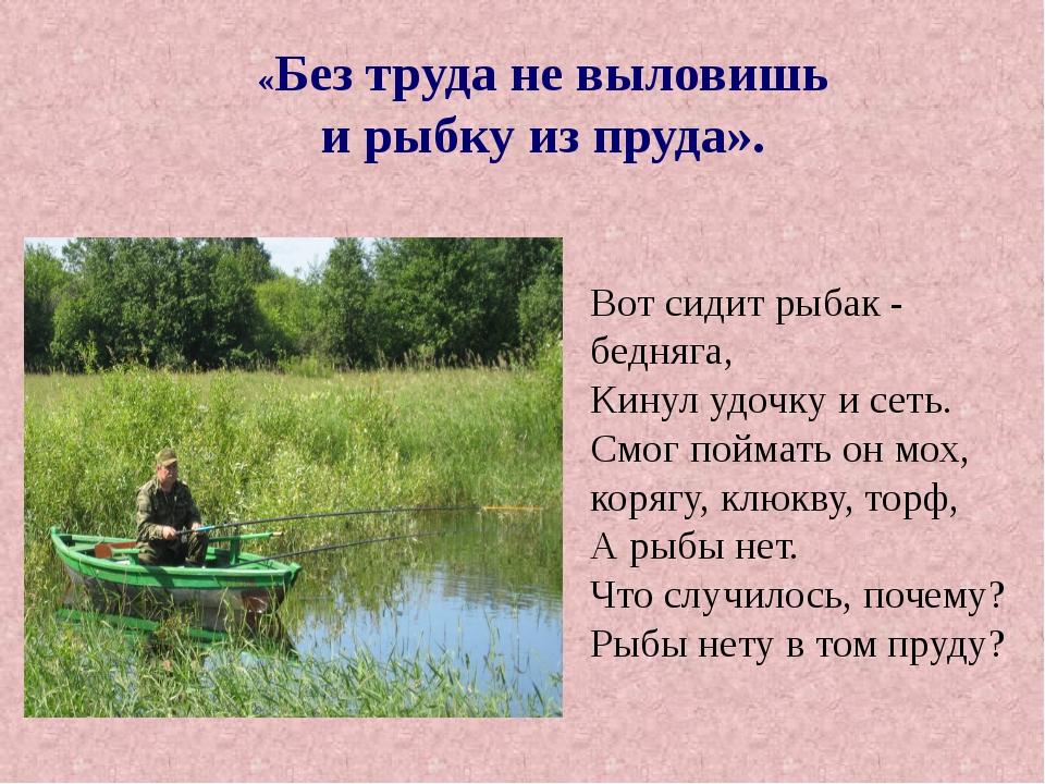«Без труда не выловишь и рыбку из пруда». Вот сидит рыбак - бедняга, Кинул у...