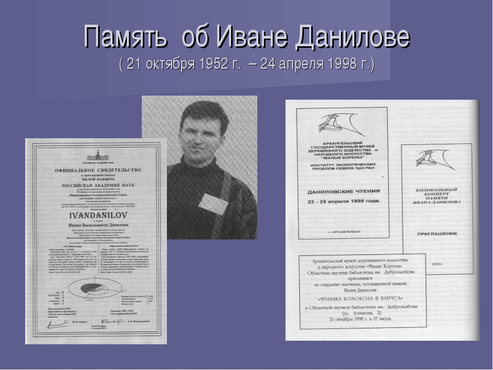 Память об Иване Данилове ( 21 октября 1952 г. – 24 апреля 1998 г.)