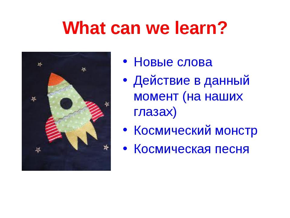 What can we learn? Новые слова Действие в данный момент (на наших глазах) Кос...